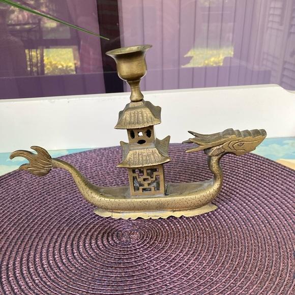 Vintage brass Dragon Boat candle holder